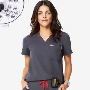 Figs Charcoal Scrub Top